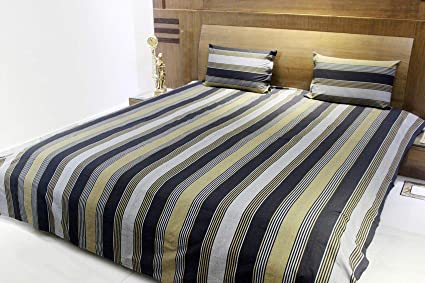 AURAVE Multicolor Stripes Mercerised Cotton Bedcover - King Size, 108 X 108 Inch, DN9132
