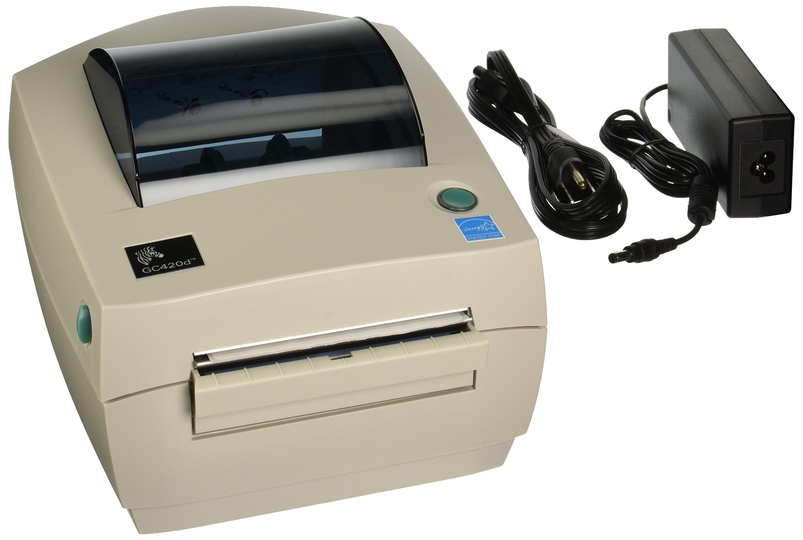 Zebra GC420-200511-000 GC420D Direct Thermal Printer 203 DPI, Monochrome, 6.7'' H x 7.9'' W x 8.2'' D, With Peeler, With USB, Serial, and Parallel Connections
