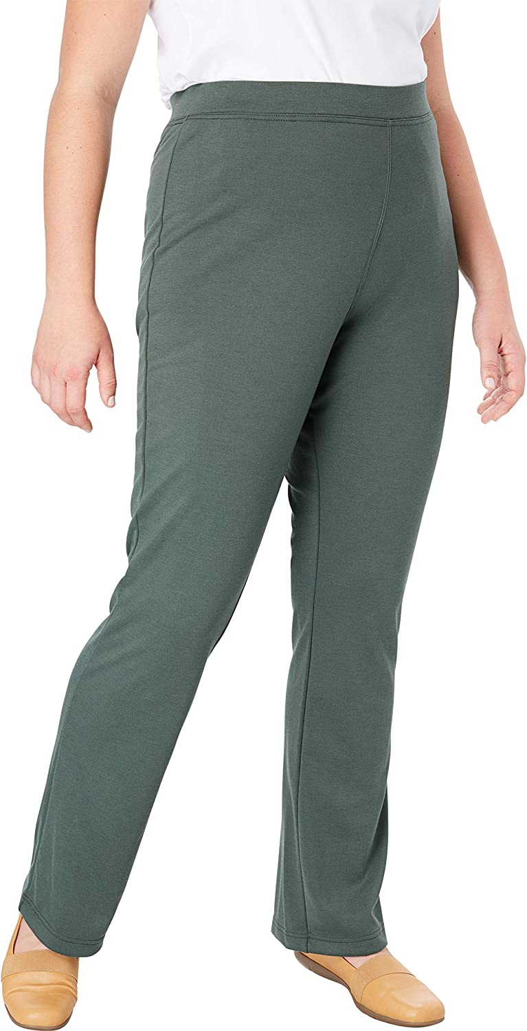 Woman Within Womens Plus Size Tall Bootcut Ponte Stretch Knit Pant