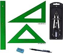 PACK LOTE Faber Castell Técnico - Regla 813-30 Cms + Escuadra 566-28 Cms + Cartabón 666-28 Cms + Bigotera Compás con adaptador universal 32722-8 + REGALO: Amazon.es: Oficina y papelería