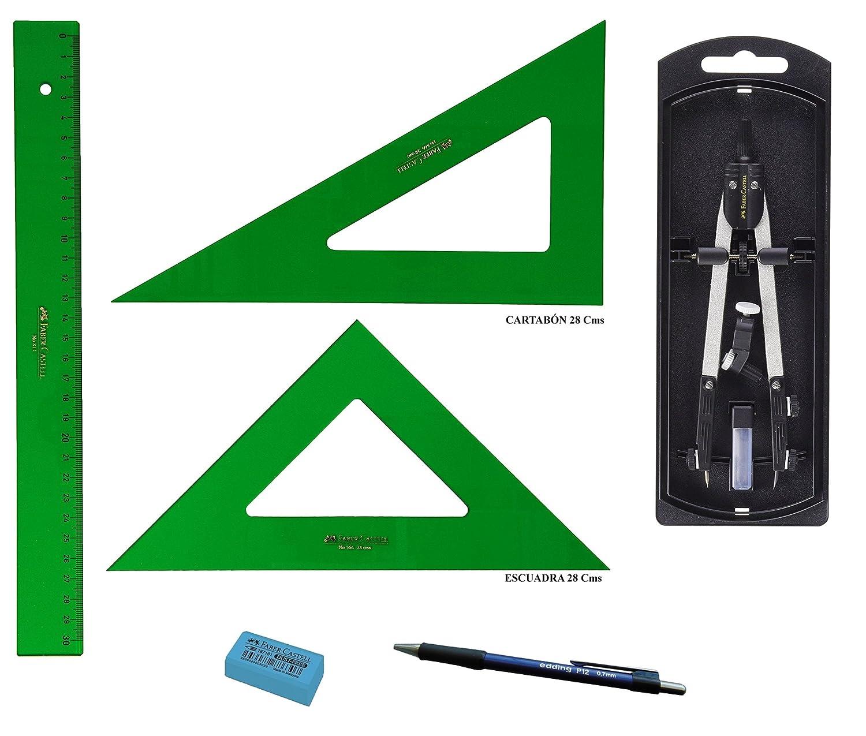 Faber Castell - Set da disegno tecnico. – Righello 813 – 30 cm. + Squadra isoscele 566 – 28 cm. + Squadra scalena 666 – 28 cm. + Compasso con adattatore universale 32722 – 8. + Regalo