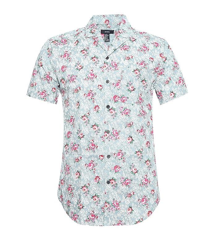 NUTEXROL Camisa Estampada de Cierre con Botones Camisa de Vestir Hombre Camiseta Casual Camisa de Manga Larga, Verde, M: Amazon.es: Ropa y accesorios