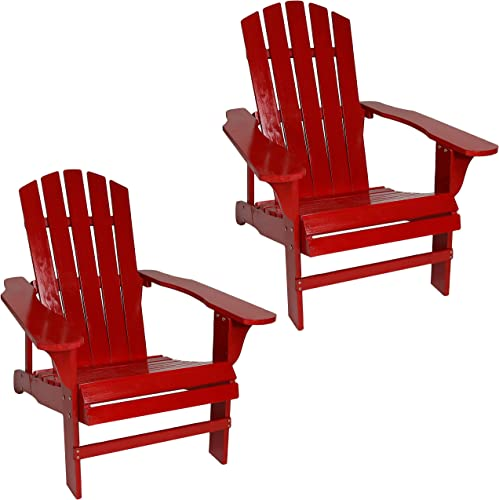 Sunnydaze Coastal Bliss Outdoor Wooden Adirondack Patio Chair Set of 2