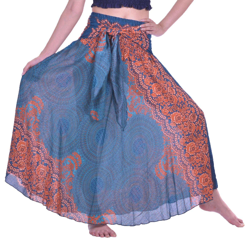 Lofbaz Women's Long Bohemian Maxi Skirt Hippie Gypsy Boho Dress - Rose 1 Teal Green - OS