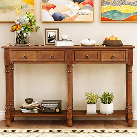 Amazon Com 58 Inch Long Storage Console Table Julyfox Mid Century Slim Hallway Sofa Table With 2 Large Storage Drawers Shelf Rustic And Victorian Style Entryway Table For Living Room Office Bar Brown Kitchen