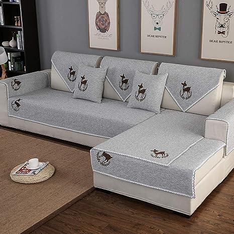 HUANZI SOFA Sofá Cubierta Funda de sofá Bordada en algodón ...