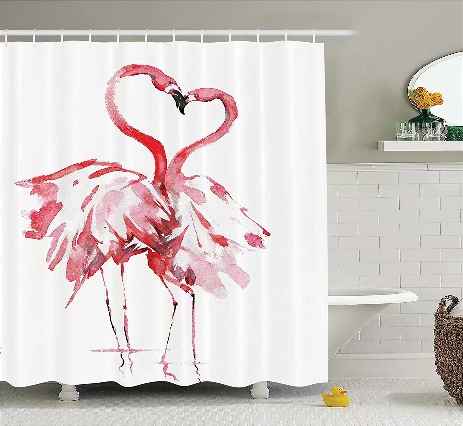 KANATSIU Flamingo Couple Kissing Watercolor Effect Art Work Shower Curtain 12 Plastic Hooks,100% Made Polyester,Mildew Resistant & Machine Washable,Width x Height is 60x72
