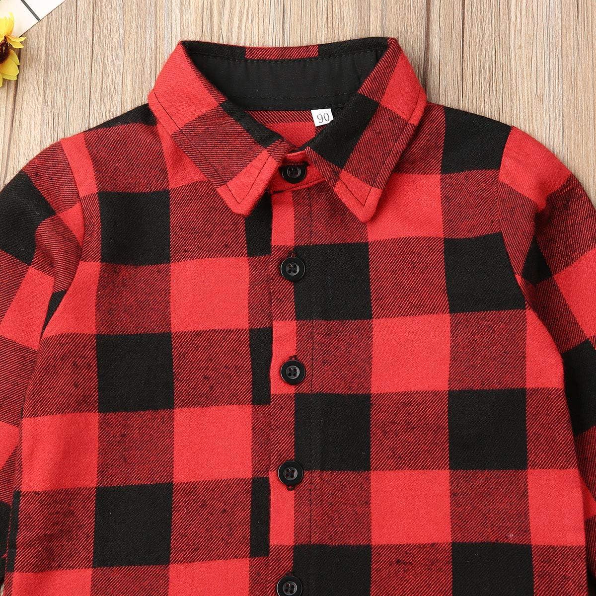 LIKEVER - Conjunto de Camiseta de Manga Larga con Botones para bebé, diseño de Cuadros, Color Rojo: Amazon.es: Ropa y accesorios