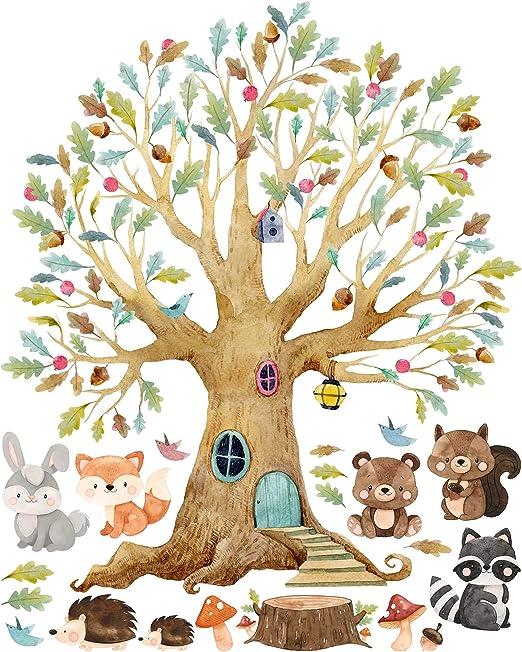 Kinderzimmer Wandtattoo Baum Waldtiere Herbst Madchen Junge 125 X 100cm Amazon De Kuche Haushalt