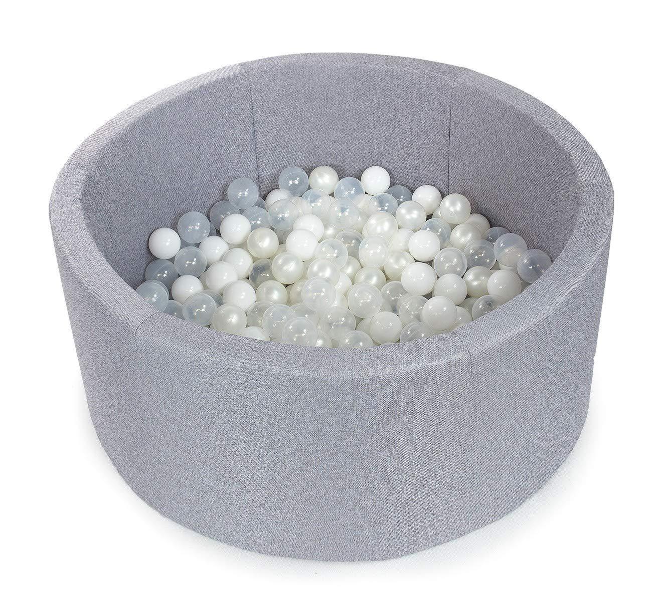 Tweepsy Soft Baby Round Ball Pool Pit 250 Balls 90x40cm Handmade EU - BKOZ1N - Light Grey Pool: Transparent, White, Pearl