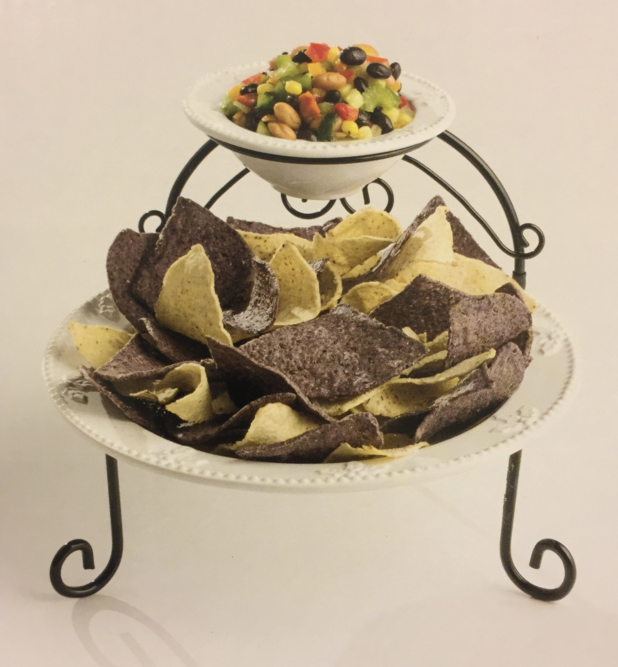 2 Tiered Serving Tray - Ceramic, Chip & Dip