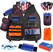 Kids Tactical Vest Kit for Nerf Guns N-Strike Elite Series with Refill Darts Dart Pouch, Reload Clip Tactical Mask Wrist Ban