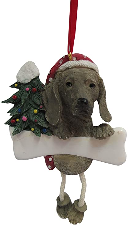 """Weimaraner Ornament with Unique """"Dangling Legs"""" Hand Painted and  Easily Personalized Christmas Ornament - Amazon.com: Weimaraner Ornament With Unique"""