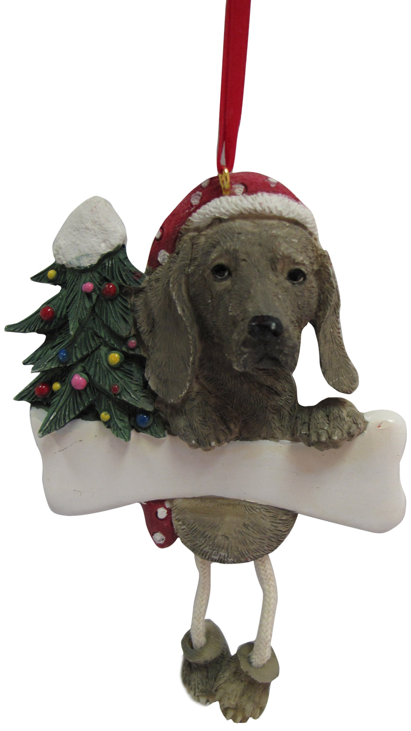 Weimaraner Ornament with Unique ''Dangling Legs'' Hand Painted and Easily Personalized Christmas Ornament by E&S Pets