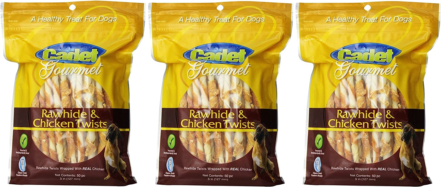 Cadet 3 Pack of Rawhide and Chicken Twists, 50 Count each, Natural Dog Chew Treats