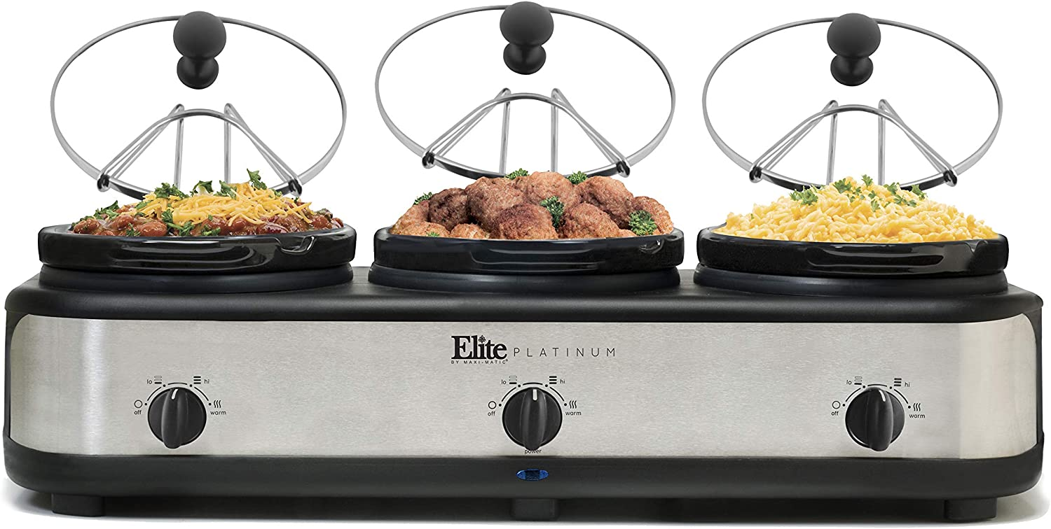 Elite Platinum EWMST-325FFP Triple Slow Cooker Buffet Server, Adjustable Temp Dishwasher-Safe Oval Ceramic Pots, Lid Rests, 3 x 2.5Qt Capacity, Black/Silver