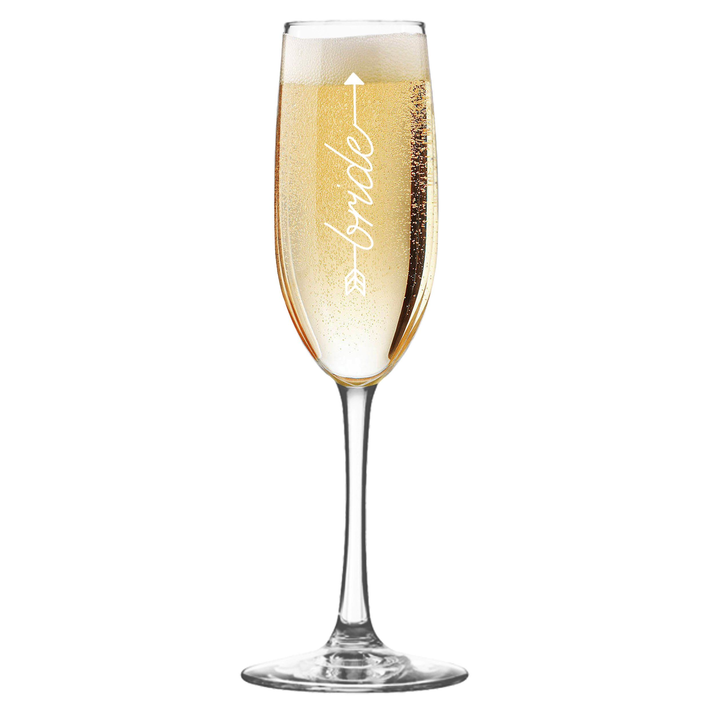 Wedding Party Champagne Flutes - Etched Toasting Bachelorette Flute Glass Gift Favors (Arrow Style. Bride Clear Glass)
