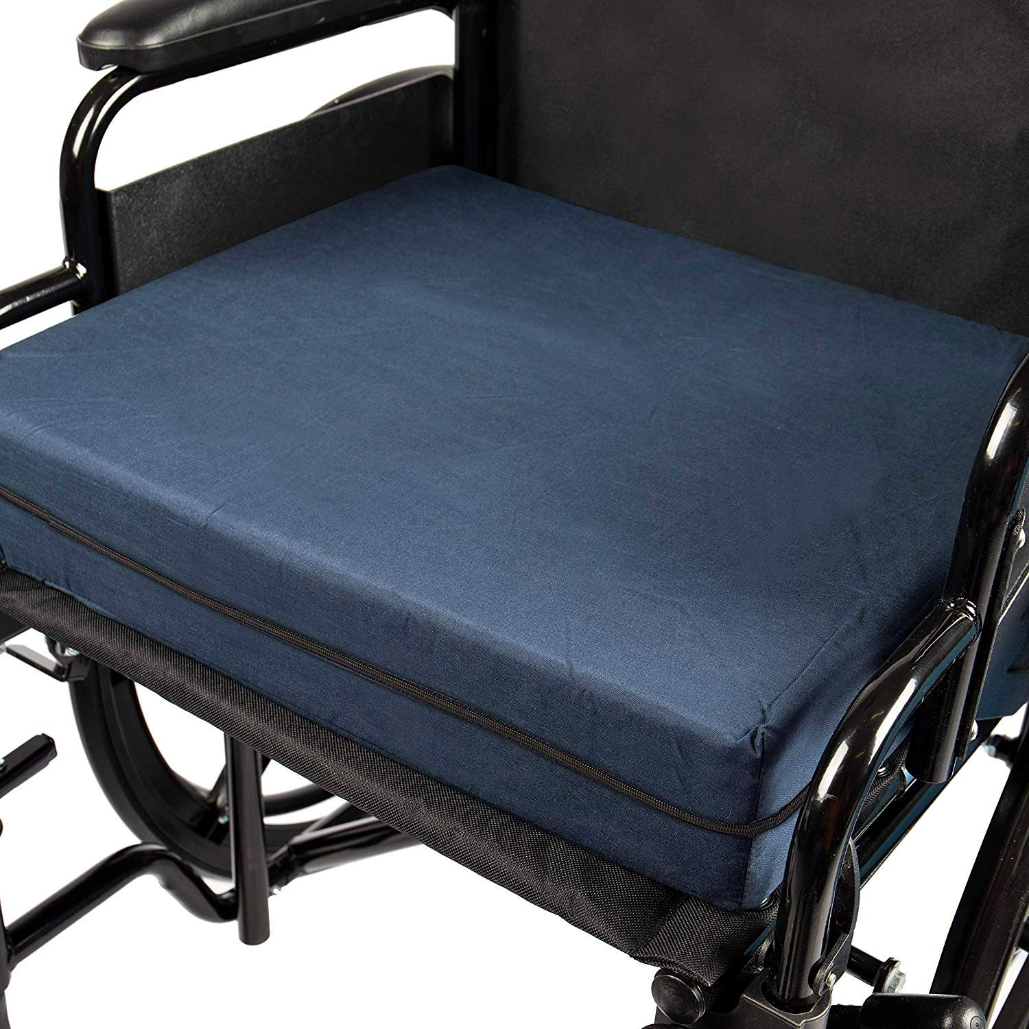 DMI Seat Cushion for Wheelchairs, Mobility Scooters, Office & Kitchen Chairs or Car Seats to Add Support & Comfort while Reducing Pressure & Stress on Back, 4'' thick, 16 x 18, Navy Blue by DMI