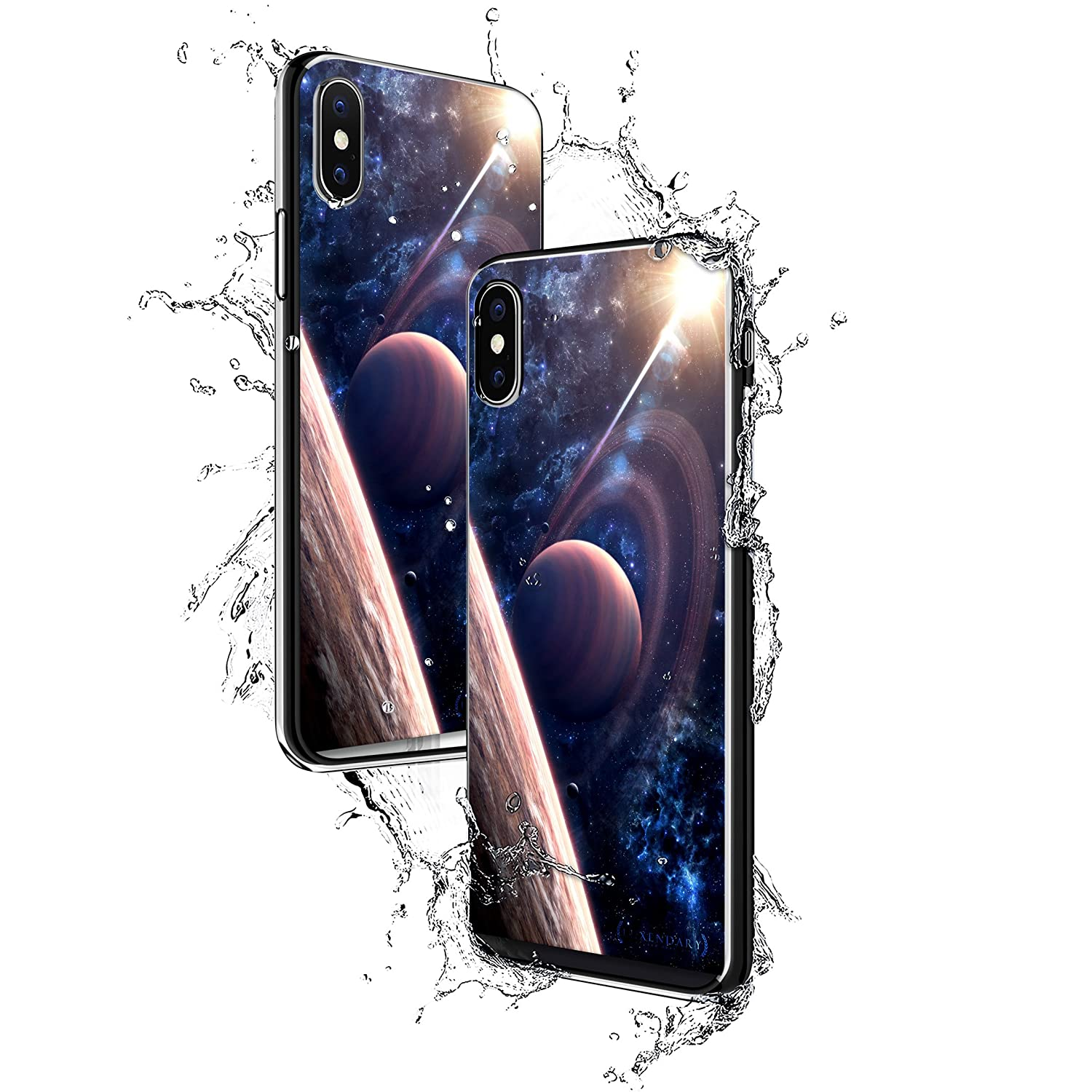 MOONS OF SATURN | Luxendary Chrome Series designer case for iPhone X in Titanium Black trim