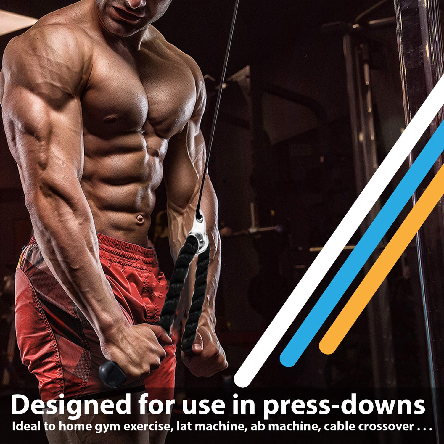 RIGERS Tricep Rope D-Handle Rotating V Shaped Press Down Bar (V Handle + Tricep Rope + V Shaped) by RIGERS FITNESS (Image #5)