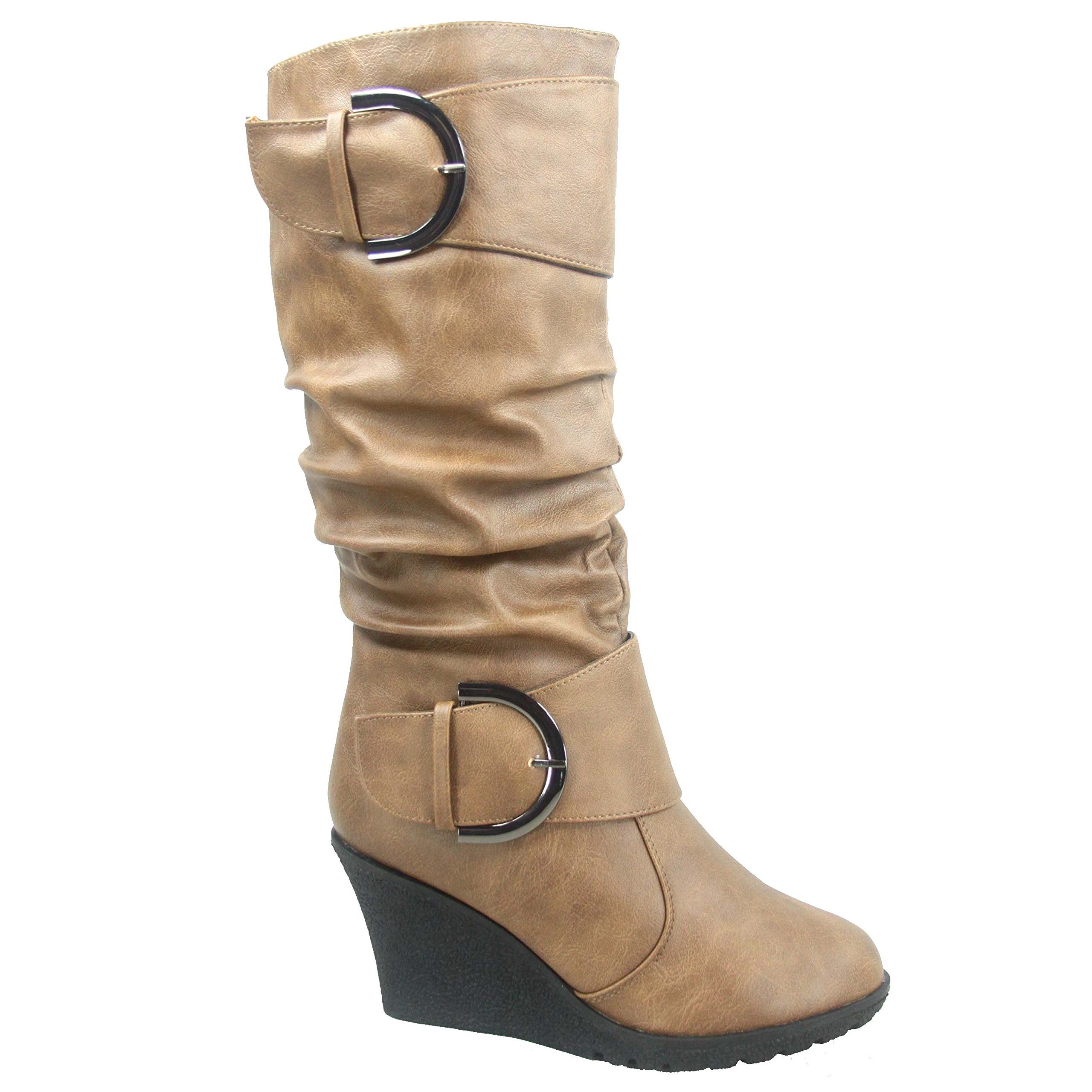 Top Moda Pure-65 Women's Fashion Round Toe Slouch Buckle Wedge Mid Calf Boot Shoes (8.5, Conac)