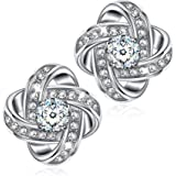 NINASUN 925 Sterling Silver Stud Earrings for Women Silk of Love Hypoallergenic Earrings Fine Jewelry for Women Timeless Roma