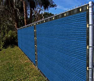Ifenceview 3'x1' to 3'x50' Blue Shade Cloth/Fence Privacy Screen Fabric Mesh Net for Construction Site Yard Driveway Garden Pergolas Railing Pool Balcony Canopy Awning 160 GSM UV Protection (3'x2')