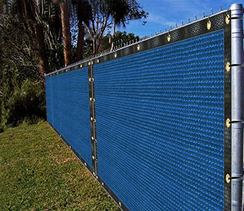 Ifenceview 5 x3 to 5 x50 Blue Shade Cloth Fence Privacy Screen Fence Cover Panels Mesh Net for Construction Site Yard Driveway Garden Pergola Gazebos Railing Canopy Awning 165 GSM UV 5 x 48