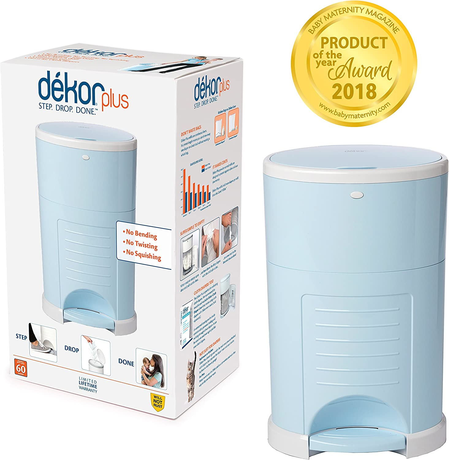 Easiest to Use Just Step Doesn/'t Absorb Odors Done 20 Second Bag Change Soft Blue Drop Dekor Plus Hands-Free Diaper Pail Most Economical Refill System |Great for Cloth Diapers