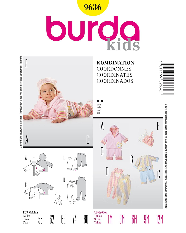 b4953141ee Burda 9636 Schnittmuster Jacke Hose Strampler (Baby, Gr, 56 - 80) Level 2  leicht: Amazon.de: Küche & Haushalt