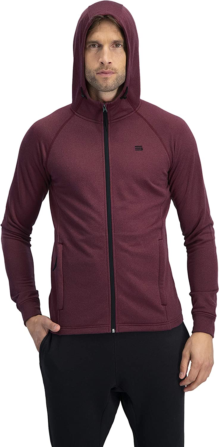 Three Sixty Six Sweatshirts for Men Zip Up Hoodie - Dry Fit Full Zip Jacket, French Terry Fabric: Clothing