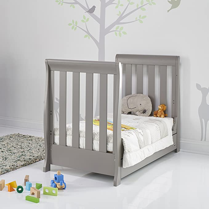 Taupe Grey Obaby Stamford Sleigh Mini Cot Bed and Pocket Sprung Mattress
