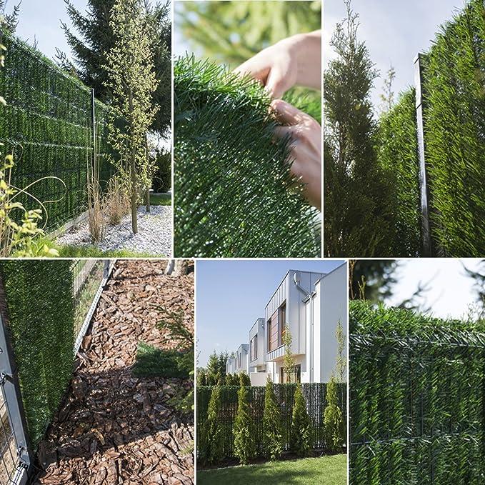 FairyTrees Seto Artificial, GreenFences, Cubierta de Valla, Terraza, Balcón, Verde Claro, de PVC Sintético, Siempre Verde, Altura 120 cm, 5 m: Amazon.es: Jardín
