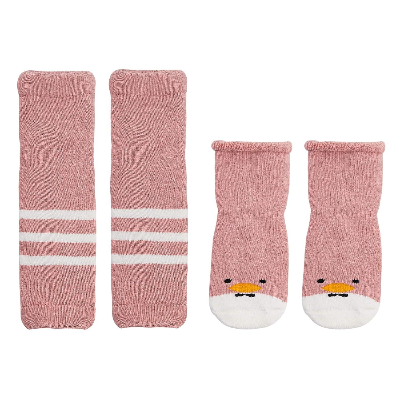 ANIMQUE Bebè Scaldamuscoli e calzini set Inverno 0-6 mesi bambino ragazzi ragazze calze di cotone antiscivolo caldo ginocchiere per gattonare motivo del fumetto