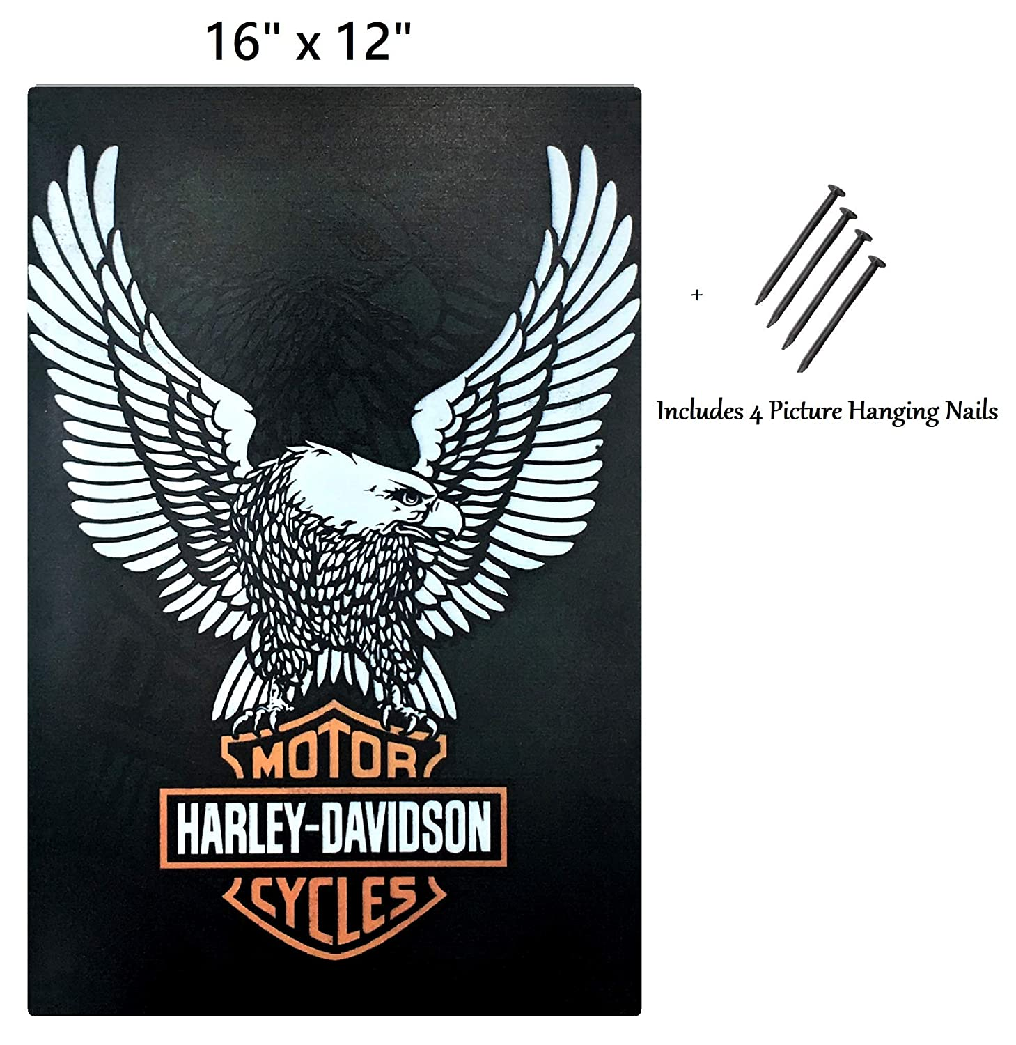 UNiQ Designs Harley Davidson Metal Signs Motorcycle Sign White Eagle Motorcycle Wall Decor Biker Signs for Man Cave Tin Signs Harley Signs Motorcycle Posters for Wall Motorcycle Decor for Home 16x12
