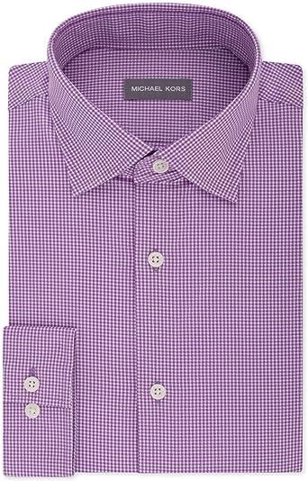 Michael Kors Camisa de vestir a cuadros para hombre - Morado - 36 ES: Amazon.es: Ropa y accesorios