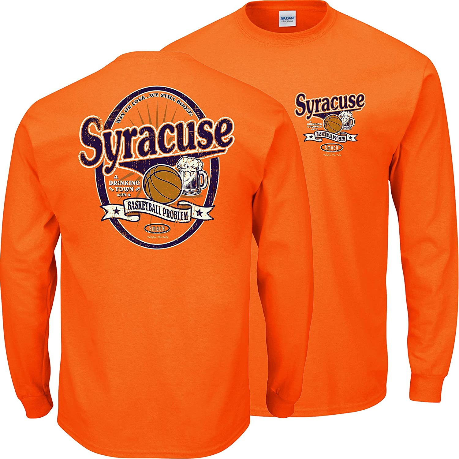 Syracuse Smack Apparel Syracuse Basketball Fans Sm-5X A Drinking Town with a Basketball Problem Orange T-Shirt