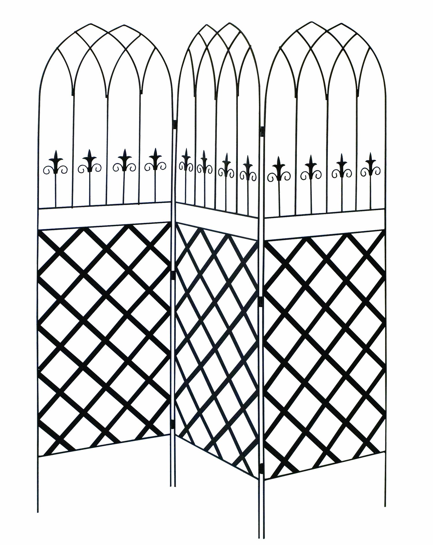 Panacea 89660 Gothic Garden Screen Trellis with Lattice, 72-Inch, Black