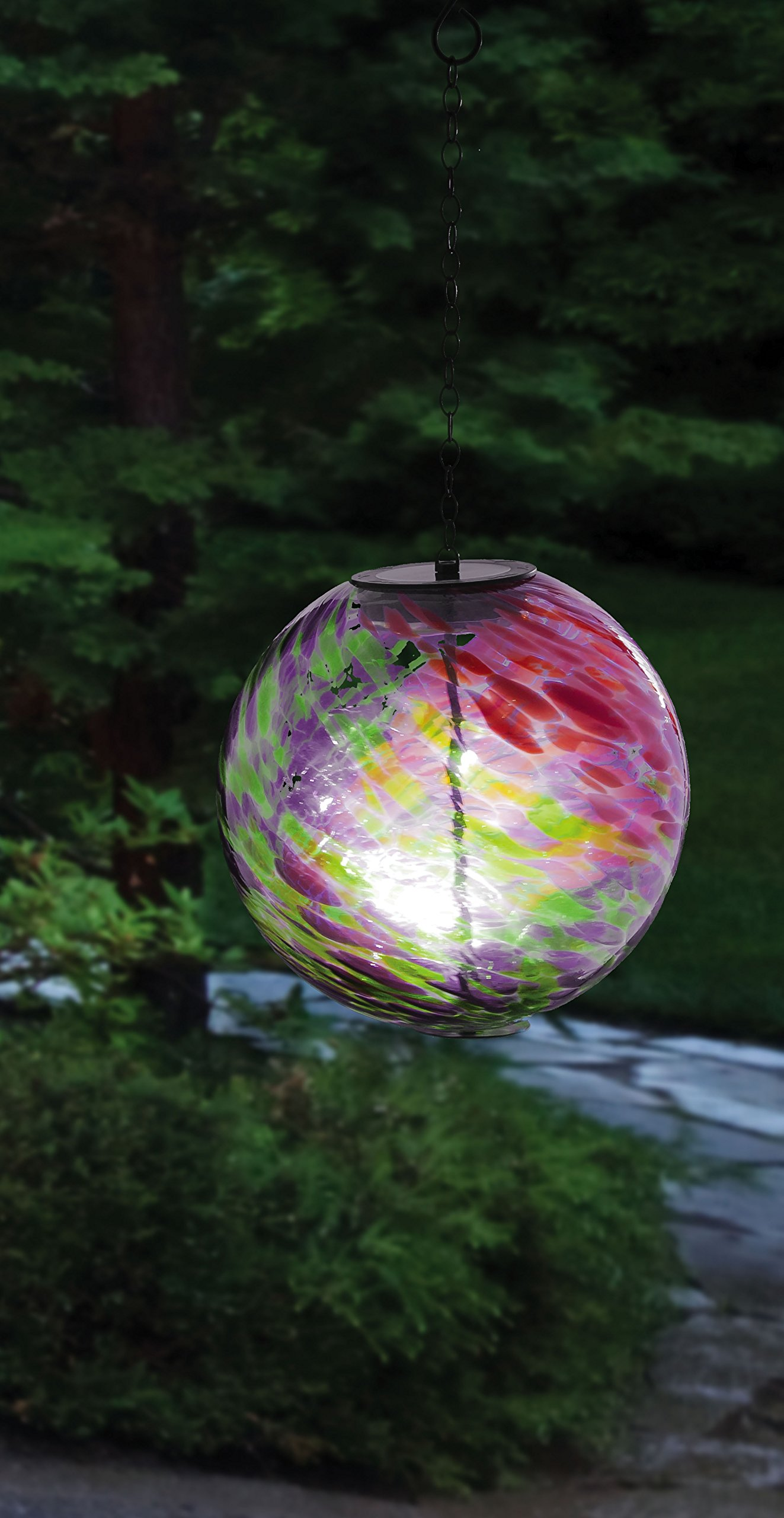Evergreen Enterprises Hanging Solar Gazing Ball Outdoor Decor, Pink/Green