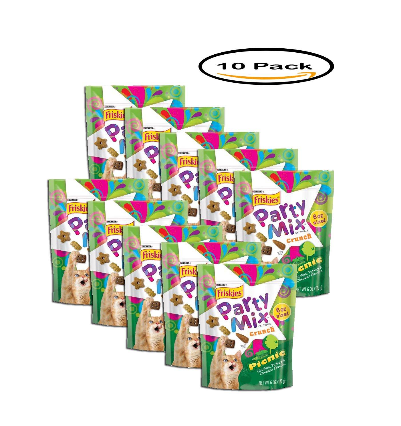 PACK OF 10 - Purina Friskies Party Mix Crunch Picnic Cat Treats, 6 oz