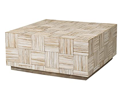 East At Main Ashton Off White Teak Square Coffee Table, (35x35x16)