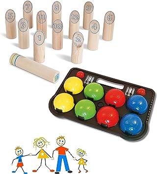 Juego de juegos de jardín para exterior, juegos para toda la familia, juego de números de madera y Boccia de plástico duro (fabricado en la UE): Amazon.es: Juguetes y juegos