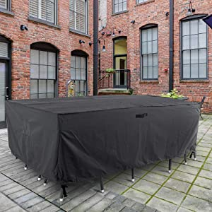 "ALSTER Patio Furniture Cover Outdoor Table Chair Set Heavy Duty and Waterproof Outdoor Lawn Furniture Covers,90"" D63 H30 W"