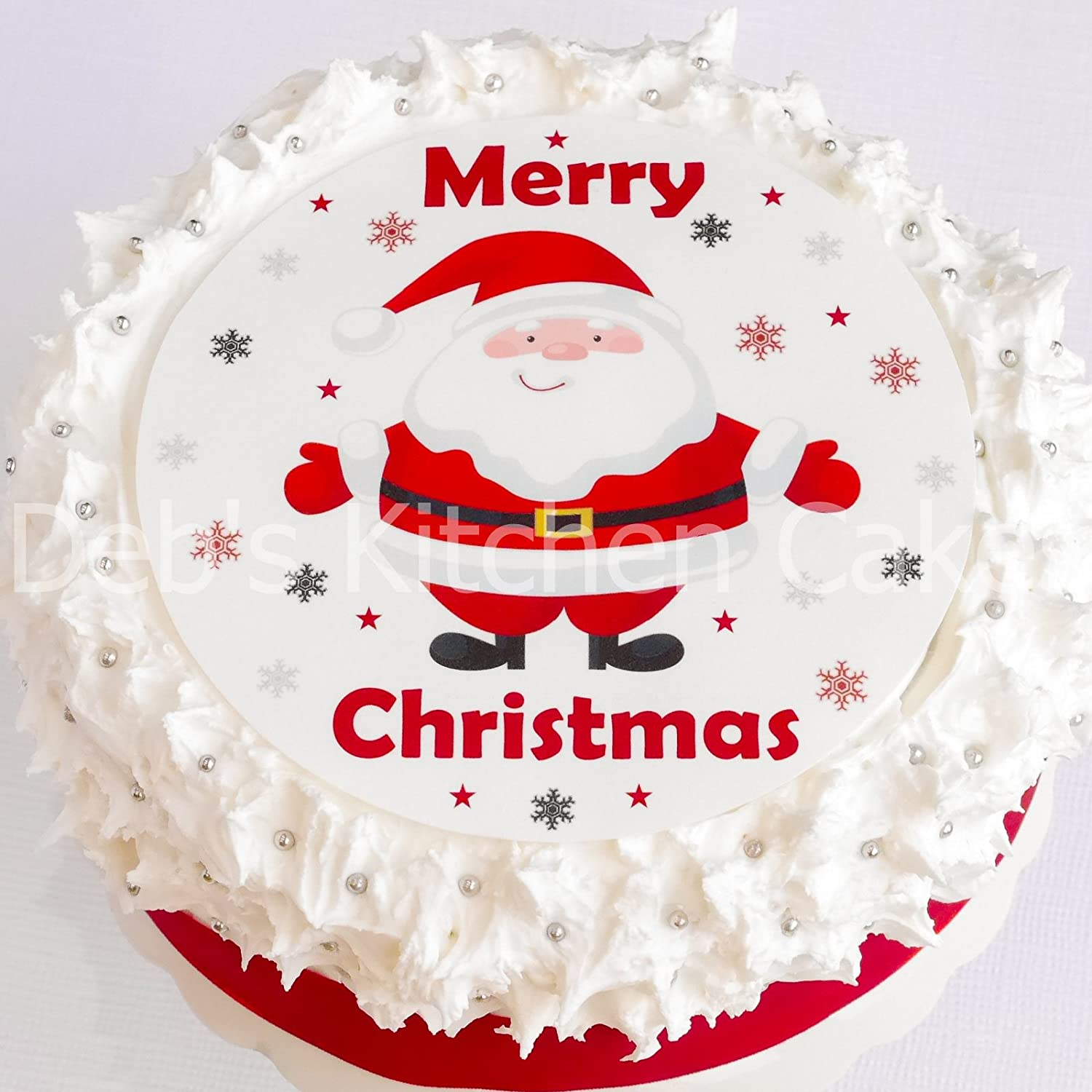 Christmas Cake Topper - Santa Cake Decoration - Edible Icing Round ...
