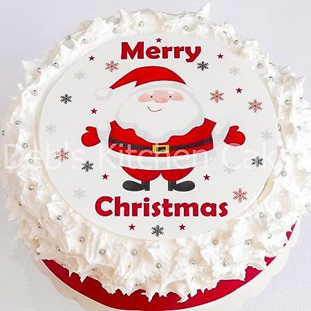 Christmas Cake Topper - Santa Cake Decoration - Edible Wafer Round ...