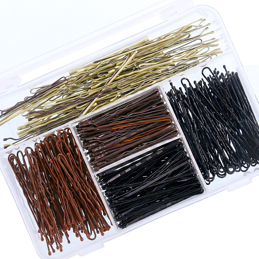 Swpeet 360 Pieces 2 Styles Hair Pins Kit, Including 216Pcs Bobby Pins and 144Pcs U Hair Pins Hair Clips with Storage Box for Girls and Women, Gold,Brown and Black by Swpeet (Image #4)