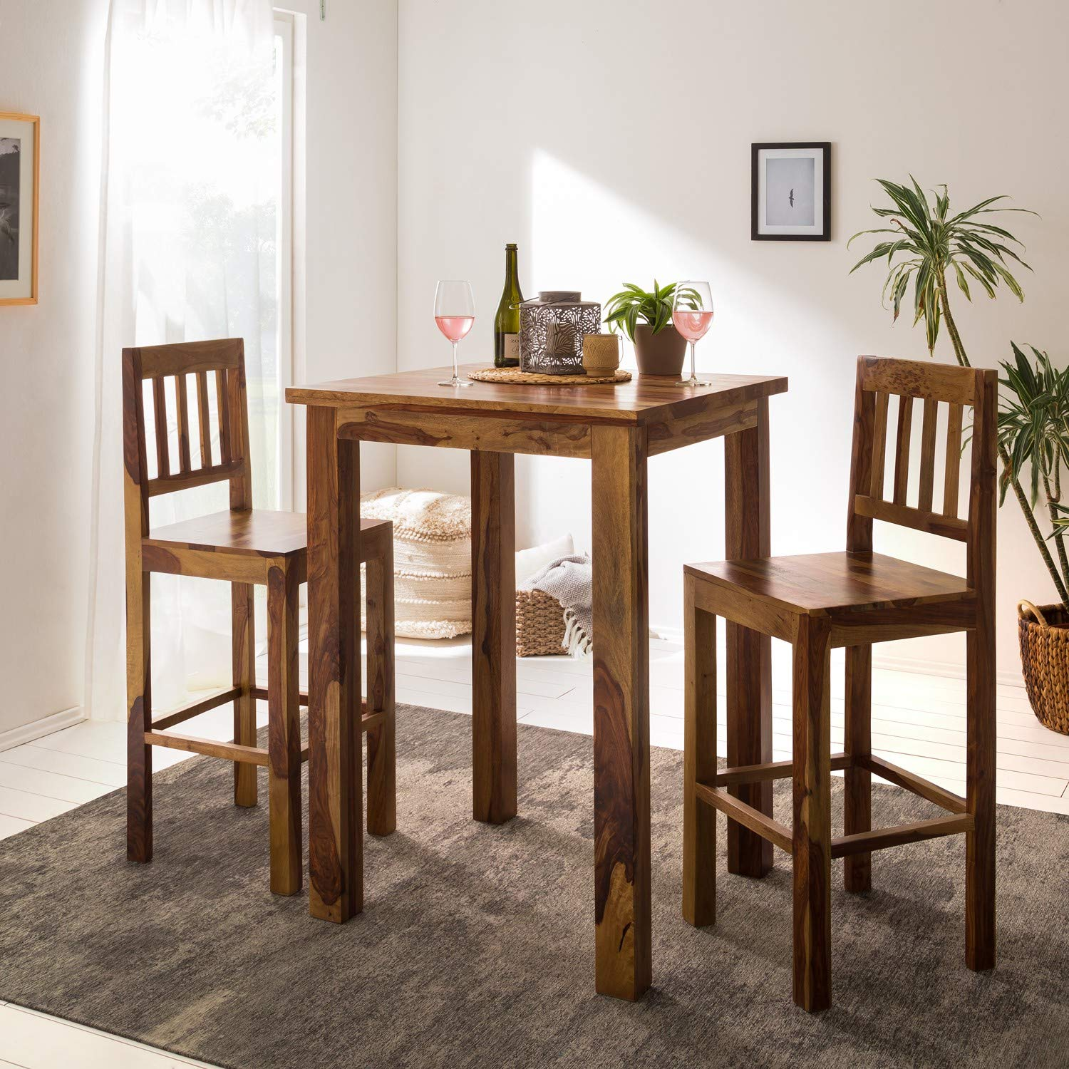 G Fine Furniture Wooden Long 9 Seater Bar Table Set   High Bar Table and  Chairs Set   Kitchen Furniture   Sheesham Wood, Natural Brown