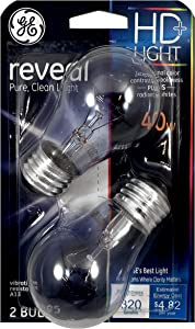 GE Lighting 48696 40-Watt Reveal Bulbs, Medium Base for Ceiling Fan A15, 2-Pack