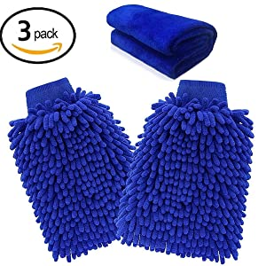 Microfiber Mitt,Ariel-gxr Car wash mitt(2-Pack) noodle Microfiber Wash Gloves car cleaning Microfiber mitt with free polishing cloth