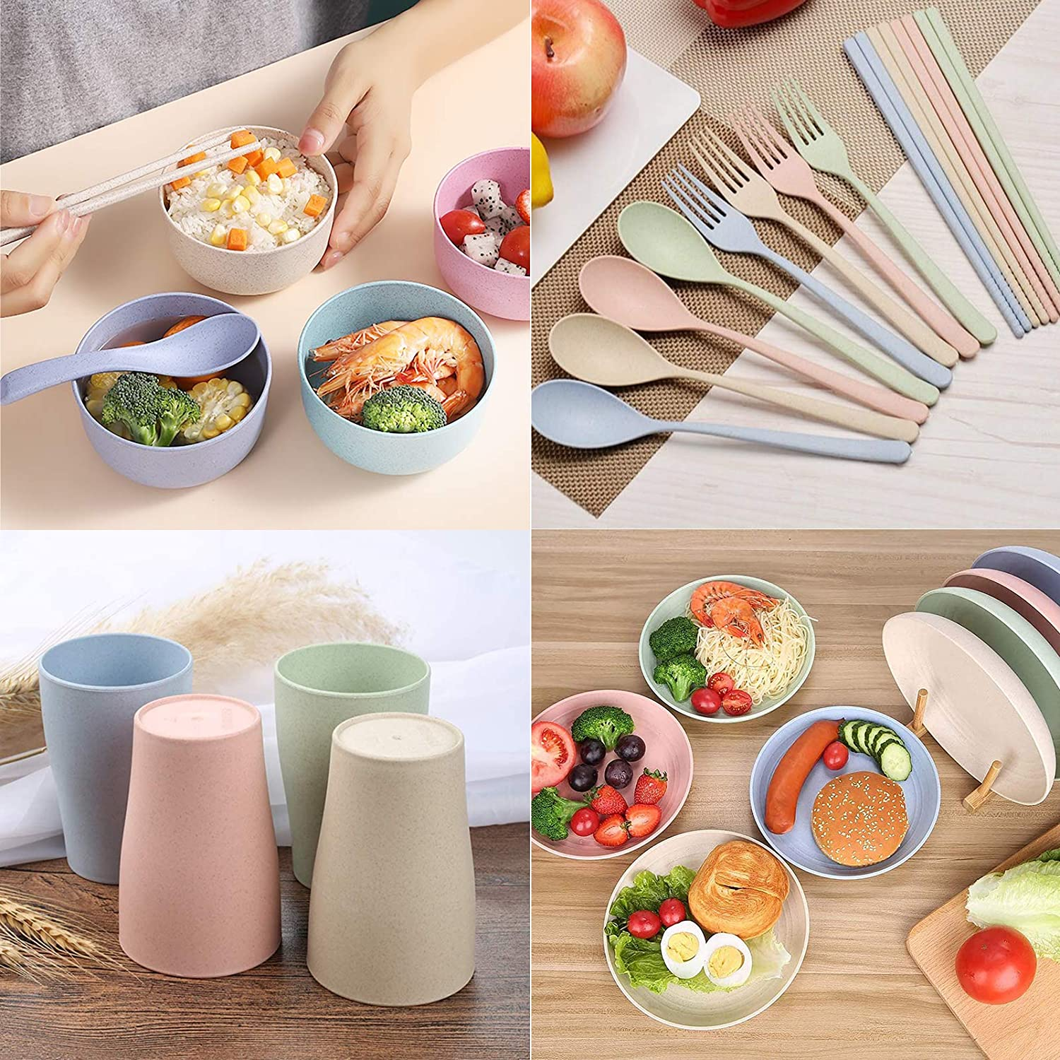 Spoons Set Microwave /& Dishwasher Safe Dish Bowl for Kids or Picnics DeeCoo Wheat Straw Dinnerware Sets of 4 24pcs Cups Forks Chopsticks Unbreakable and Lightweight Serving Bowls Plates